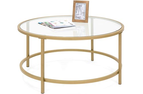 Walker Edison Modern Oval Coffee Accent Table Living Room, Wave Bottom, Clear Glass