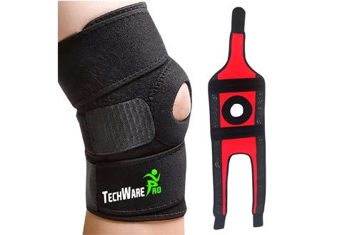 TechWare Pro Knee Brace Support - Relieves ACL, LCL, MCL, Meniscus Tear, Arthritis, Tendonitis Pain. Open Patella Dual Stabilizers Non Slip Comfort Neoprene.