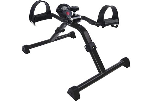 Vaunn Medical Folding Pedal Exerciser with Electronic Display for Legs and Arms Workout (Fully Assembled Exercise Peddler,