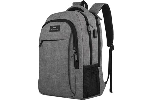 Travel Laptop Backpack, Business Anti Theft Slim Durable Laptops Backpacks with USB Charging Port, Water Resistant College School Computer Bag Gifts for Women & Men Fits 15.6 Inch Notebook, Grey