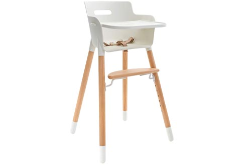 WeeSprout Wooden High Chair for Babies & Toddlers | 3-in-1 High Chair/Booster/Chair | Grows with Your Child | Adjustable Footrest/Legs | Removable Tray/Armrest | Modern Wood Design | Easy to Assemble