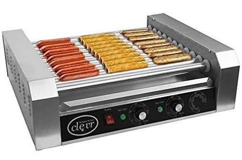 Clevr Commercial Hotdog Roller Machine 11 Rollers and 30 Hot Dog Grill Cooker Warmer