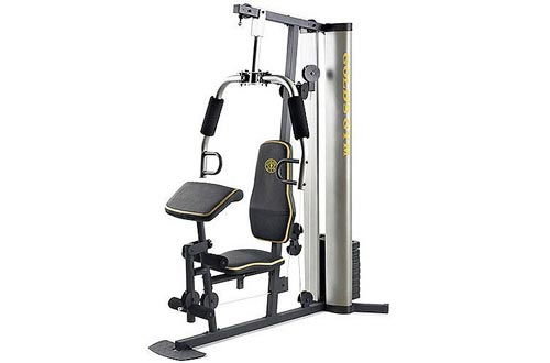XR 55 Home Exercise Gold's Gyms, weight stack, padded seat, preacher pad, chart