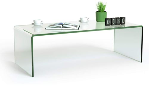 "Tangkula Glass Coffee Table, 42.5"" L × 20"" W ×14"" H, Modern Home Furniture, Clear Tempered Glass End Table,"