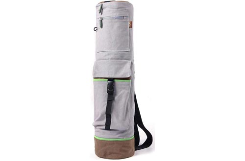 """Heathyoga Yoga Mat Bag Full-Zip Exercise Yoga Mat Carry Bag - Mufti-Functional Inner/Outer Storage Pockets- Adjustable Shoulder Strap – 28"""" X 7"""" Fits Most Mat Sizes"""