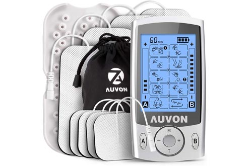 """AUVON Dual Channel TENS Unit Muscle Stimulators Machine with 20 Modes, 2"""" and 2""""x4"""" TENS Unit Electrode Pads"""