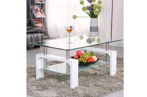 Mecor Rectangle Glass Coffee Table-White Modern Side Coffee Table with Lower Shelf Wooden Legs-Suit for Living Room