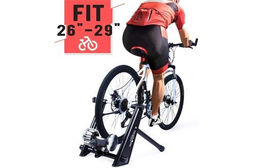 Fluid Bike Trainer Stand, Indoor Fluid Bicycle Exercise Trainer w Quiet Real Road Feel Flywheel,
