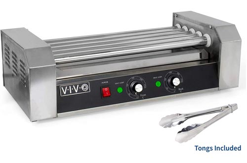 VIVO Electric 12 Hot Dog and 5 Rollers Grill Cooker Warmer | Cooker Machine (HOTDG-V005