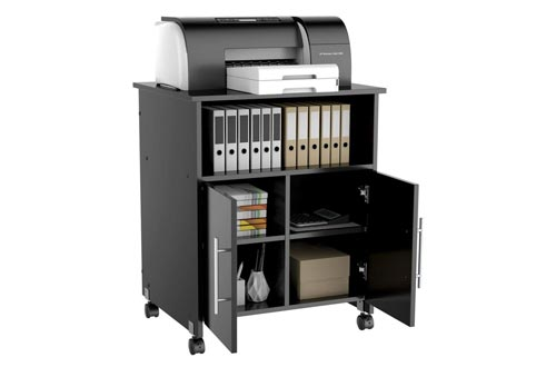 Yaheetech Rolling Printer Stands with Storage for Office Home, Wood Cabinet Work Cart Cupboard Shelf on Wheels Black