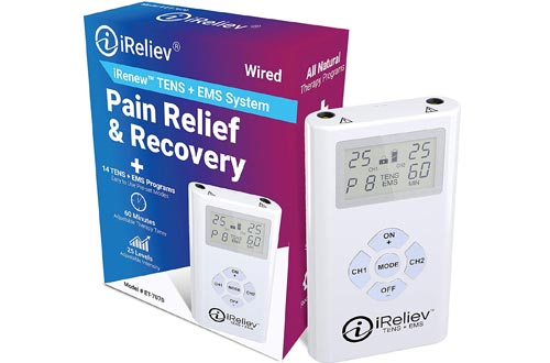 iReliev TENS + EMS Combination Unit Muscle Stimulators for Pain Relief & Arthritis & Muscle Strength