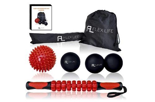 Flex Life Massage Ball Set and Muscle Roller Stick Kit