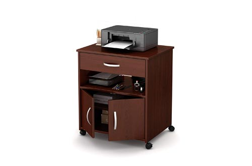 South Shore 2-Door Printer Stands with Storage on Wheels, Royal Cherry