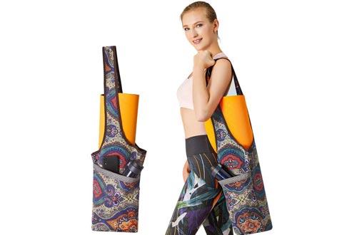 PERFEKT Yoga Mat Bag Carrier with Free Yoga Fitness Band, Large Size Pocket and Zipper Pocket, Gym Bag