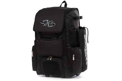 """Boombah Rolling Superpack 2.0 Baseball/Softball Gear Bag - 23-1/2"""" x 13-1/2"""" x 9-1/2"""" - Multiple Colors - Telescopic Handle and Holds 4 Bats - Wheeled Version"""