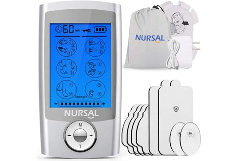 NURSAL EMS TENS Unit Muscle Stimulators with 8 Electrode Pads/Pouch/Pads Holder, Rechargeable 16 Modes Electronic Pulse Massager