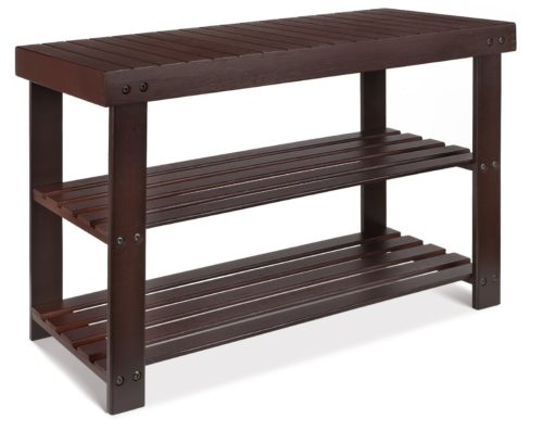 HOMFA Bamboo Shoe Rack Bench 3-Tier