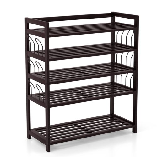 Homfa Bamboo Shoe Shelf Storage Organizer 5-Tier