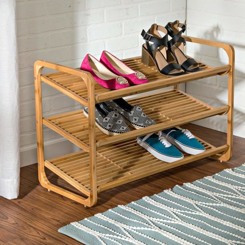 Honey-Can-Do SHO-01599 Bamboo 3-Tier Shoe Shelf-Wooden Shoe Racks