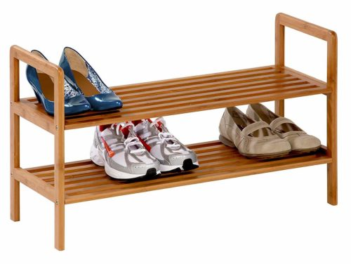 Honey-Can-Do SHO-01600 Bamboo 2-Tier Shoe Shelf-Wooden Shoe Racks