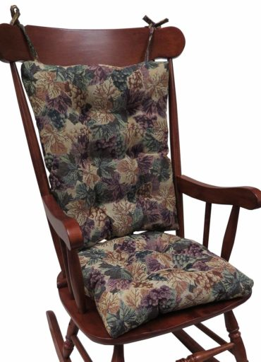 Klear Vu The Gripper Non-Slip Cabernet Tapestry Jumbo Rocking Chair Cushions-Wooden Rocking Chairs