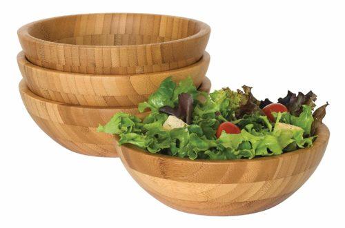 Lipper International 8203-4 Bamboo Wood Salad Bowls