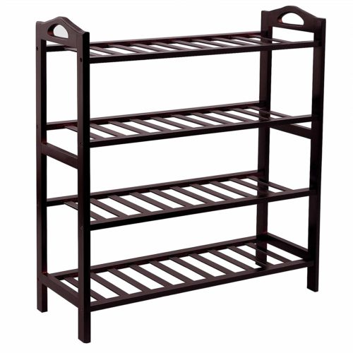 SONGMICS 100% Bamboo 4-Tier Shoe Rack 30 Inch Wide Shoe Shelf Storage Organizer