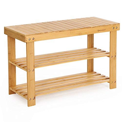 SONGMICS Sturdy Shoe Rack Bench-Wooden Shoe Racks
