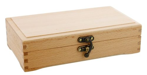 US Art Supply Small Beechwood Artist Tool and Brush Storage Box