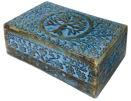 vrinda Wooden Hand Carved Tree of Life Box 8 inch x 5 inch