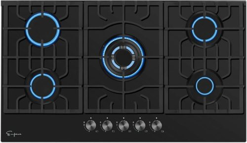 "Empava 36"" 5 Italy Sabaf Sealed Burners Gas Stove Top Gas Cooktop Black Tempered Glass LPG/NG Convertible EMPV-36GC905"
