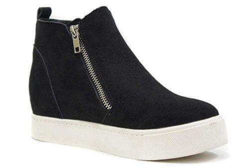 1. Soda Taylor Hidden Fahsion Wedge Sneaker Shoes Side Zipper