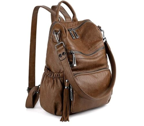 1. UTO Women Backpack Purse PU Washed Leather Convertible Ladies Rucksack