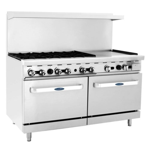 "CookRite ATO-6B24G Commercial Liquid Propane Range 6 Burner Hotplates with 24"" Manual Griddle 2 Standard Ovens 60'' Restaurant Range- 240000 BTU"