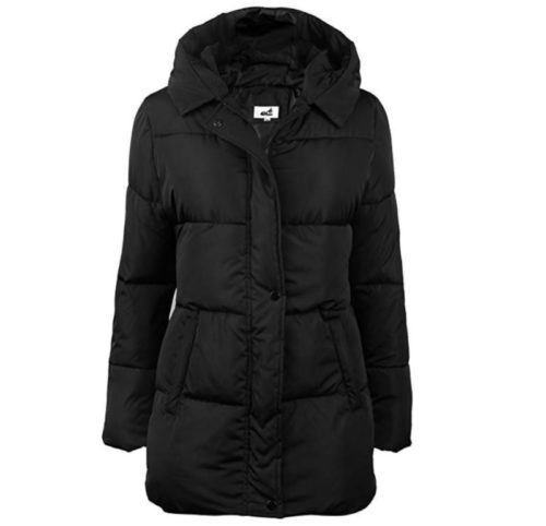 10. 4How Womens Hooded Warm Winter Puffer Coat Mid Length Parka Water Resistant Jacket