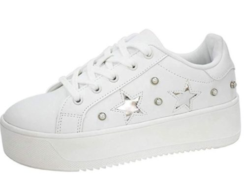 10. LUCKY-STEP Fashion Leather Women Sneakers