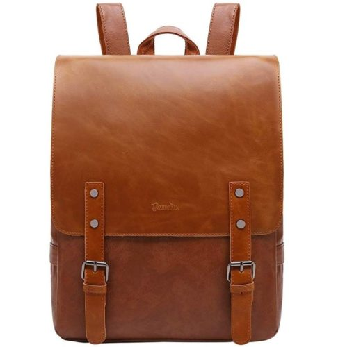 10. ZEBELLA Womens Leather Backpack Vintage Brown Travel Daypack College Bookbag-Light Brown