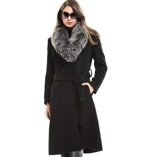 12. Escalier Women's Trench Long Wool Coat with Real Fox Fur Collar