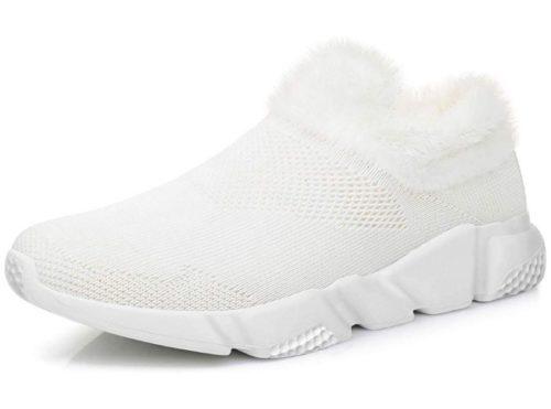 12. GOOBON Women's Winter Running Sneakers Warm Fur Lined Slip On