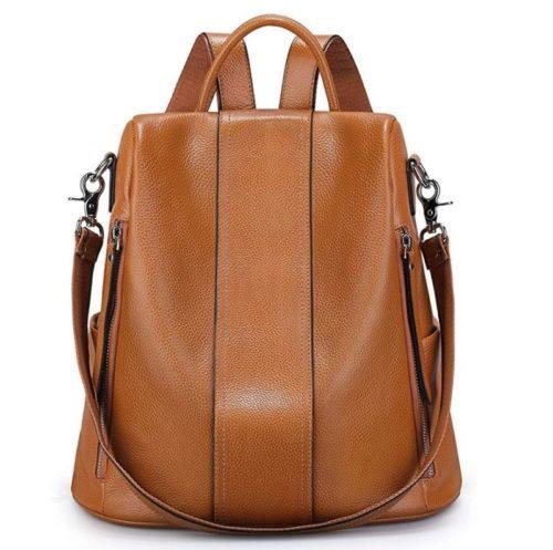 12. S-ZONE Women Soft Leather Backpack Antitheft Rucksack Ladies Shoulder Bag Medium