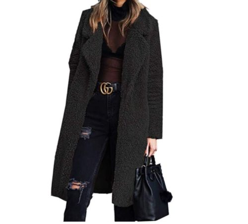 2. Angashion Women's Fuzzy Fleece Lapel Open Front Long Cardigan Coat Faux Fur War