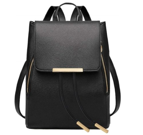 3. COOFIT Black Faux Leather Backpack for Women Schoolbag Casual Daypack