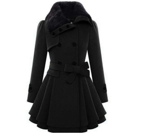 3. Zeagoo Women's Fashion Faux Fur Lapel Double-Breasted Thick Wool Trench Coat Jacket