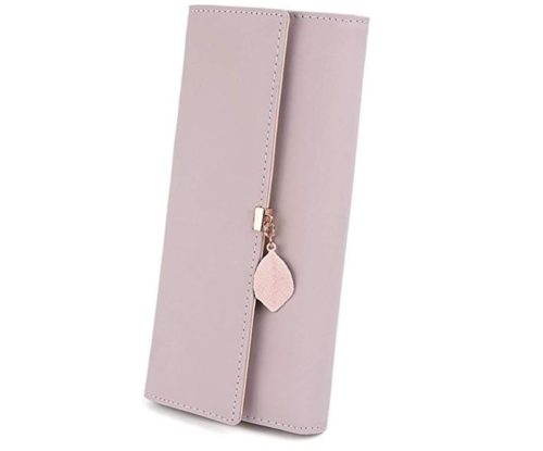 4. UTO Wallet for Women PU Leather Leaf Pendant Card Holder Phone