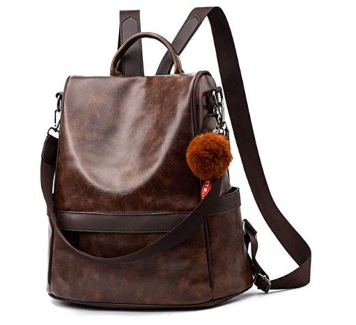 4. Women Backpack Purse PU Leather Anti-theft Casual Shoulder Bag