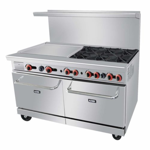 Commercial 6 Burner 60'' Range With 24'' Griddle and Standard Oven - Kitma Heavy Duty Natural Gas Cooking Performance Group for Kitchen Restaurant, 252,000 BTU
