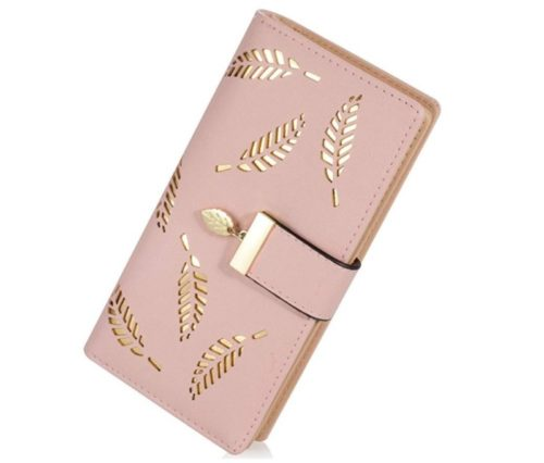 5. Women's Long Leaf Bifold Wallet Leather Card Holder Purse Zipper Buckle