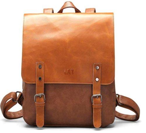 7. LXY Vegan Leather Backpack Vintage Laptop Bookbag