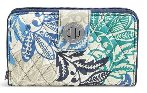 7. Vera Bradley Women's RFID Turnlock Wallet-Signature