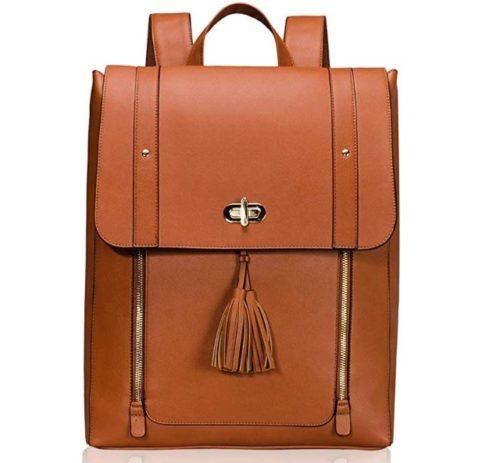 8. Estarer Women PU Leather Backpack 15.6inch Laptop Vintage College School Rucksack Bag
